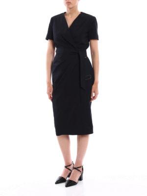 Max Mara: knee length dresses online - Dalmine solid black wrap dress