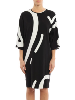 Max Mara: knee length dresses online - Rete printed cady dress