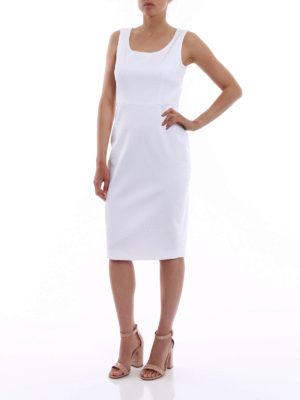 Max Mara: knee length dresses online - Segnale white cotton shift dress