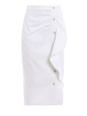 Max Mara: Knee length skirts & Midi - Edmond white cotton pencil skirt