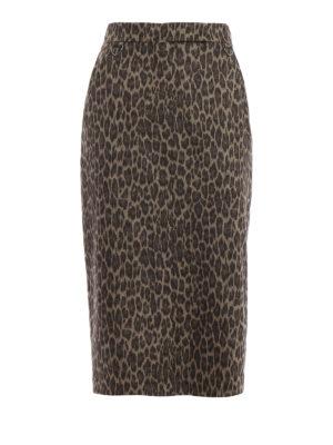 Max Mara: gonne al ginocchio  e longuette - Gonna Gina in flanella di lana animalier