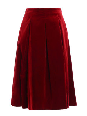 Max Mara: Knee length skirts & Midi - Gioia velvet A-line midi skirt