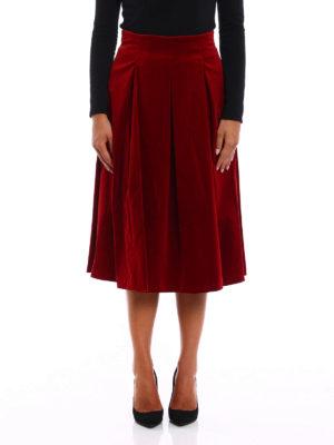 Max Mara: Knee length skirts & Midi online - Gioia velvet A-line midi skirt