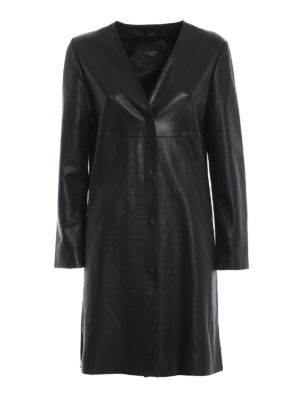Max Mara: cappotti in pelle - Spolverino dritto Delis in nappa