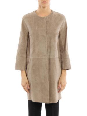 Max Mara: leather coats online - Suedeg suede duster coat