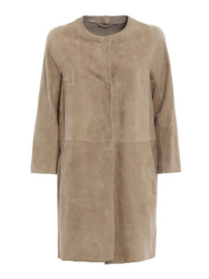 Max Mara: leather coats - Suedeg suede duster coat