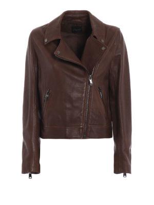 Max Mara: giacche in pelle - Giubbotto asimmetrico in pelle Zucca