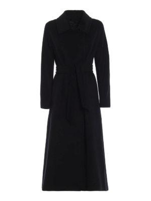 Max Mara: cappotti lunghi - Lungo cappotto wrap Didone in panno di lana