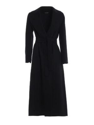Max Mara: cappotti lunghi - Cappotto nero lungo a vestaglia Poldo
