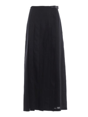 Max Mara: Long skirts - Evelin linen pleated wrap skirt