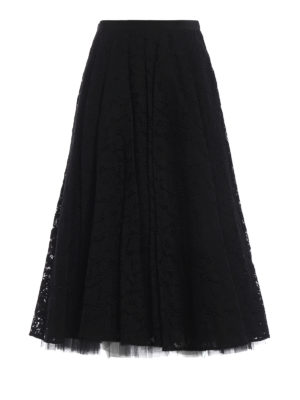 Max Mara: Gonne Lunghe - Gonna midi Marilyn nera in pizzo e tulle
