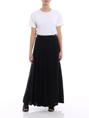 Max Mara: Long skirts online - Evelin linen pleated wrap skirt