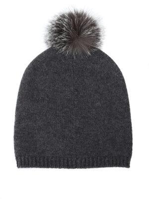 Max Mara: berretti online - Berretto Freddy grigio in cashmere e volpe