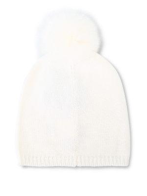 Max Mara: berretti online - Berretto Freddy bianco in cashmere e volpe