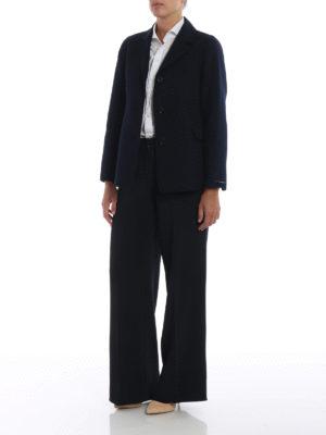 Max Mara: giacche blazer online - Blazer Tarallo in lana e angora blu
