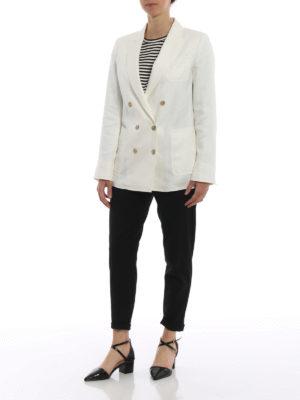 Max Mara: giacche blazer online - Blazer doppiopetto Urta in lino