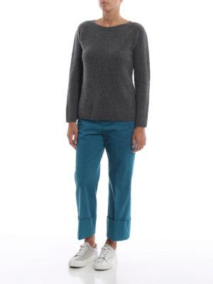 Max Mara: maglia collo a barchetta online - Pull Giorgi in cashmere grigio scuro