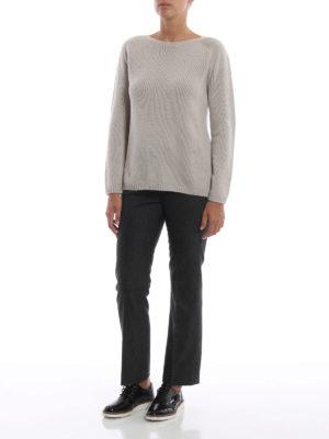 Max Mara: maglia collo a barchetta online - Pull Giorgi in cashmere grigio perla