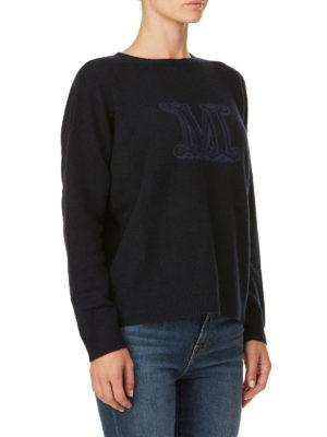 Max Mara: maglia collo rotondo online - Girocollo in cashmere con logo a contrasto