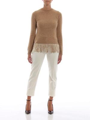 Max Mara: maglia collo rotondo online - Maglione Tecnico in misto lana con frange