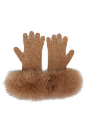 Max Mara: guanti online - Guanti beige in cashmere e volpe