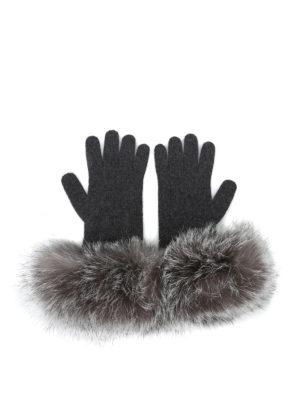 Max Mara: guanti online - Guanti in cashmere e volpe grigio scuro