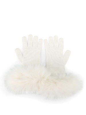 Max Mara: guanti online - Guanti bianchi in cashmere e volpe