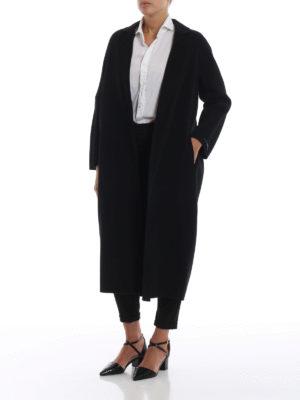 Max Mara: cappotti al ginocchio online - Cappotto Giungla in lana e angora nero
