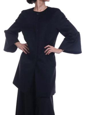 Max Mara: cappotti al ginocchio online - Cappotto Perim in pura lana nera con balze