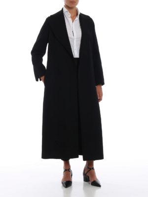 Max Mara: cappotti lunghi online - Cappotto nero lungo a vestaglia Poldo