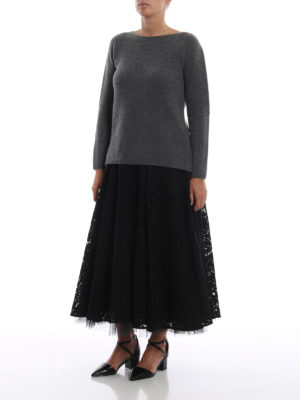 Max Mara: Gonne Lunghe online - Gonna midi Marilyn nera in pizzo e tulle