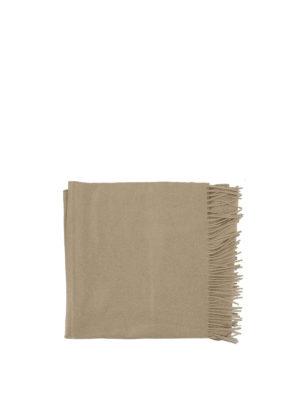 Max Mara: sciarpe e foulard online - Sciarpa con frange in cashmere color cammello