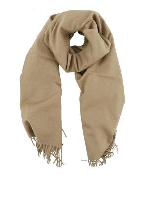 Max Mara: sciarpe e foulard - Sciarpa con frange in cashmere color cammello