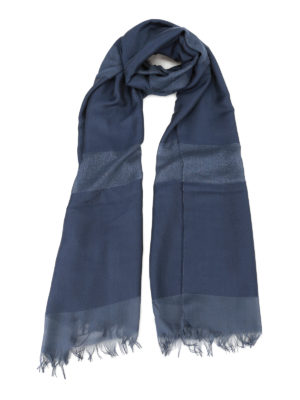Max Mara: scarves - Tessile blue silk and viscose scarf