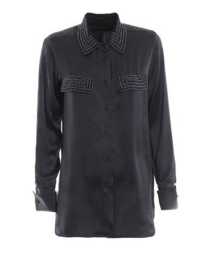 Max Mara: camicie - Camicia Basilea in raso di seta con perline