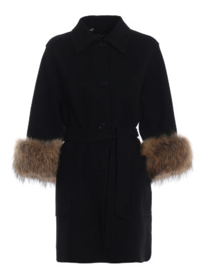 Max Mara: cappotti corti - Cappotto King polsi in pelliccia