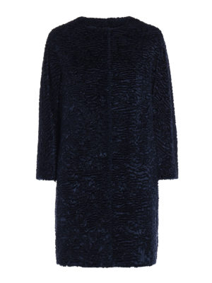 Max Mara: short coats - Tcape blue astrakhan effect coat