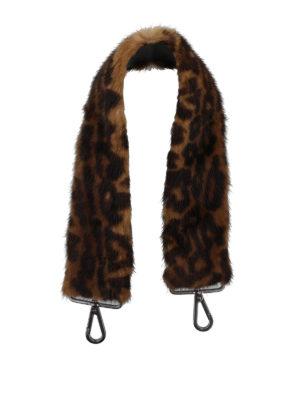 Max Mara: borse a spalla - Tracolla per borsa in visone stampa animalier