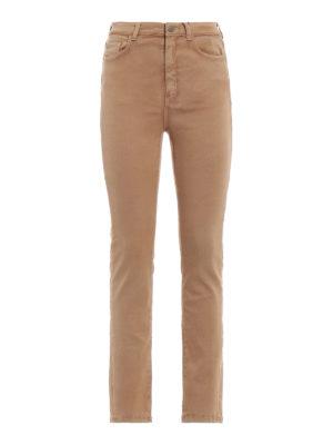 Max Mara: jeans skinny - Jeans skinny Uggioso in denim marrone chiaro
