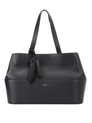 Max Mara: totes bags - Shop5L dark blue leather tote