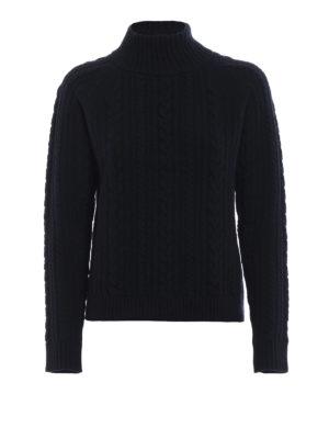 Max Mara: maglia a collo alto e polo - Dolcevita blu Brando in lana intrecciata