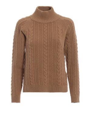 Max Mara: maglia a collo alto e polo - Dolcevita marrone Brando in lana intrecciata