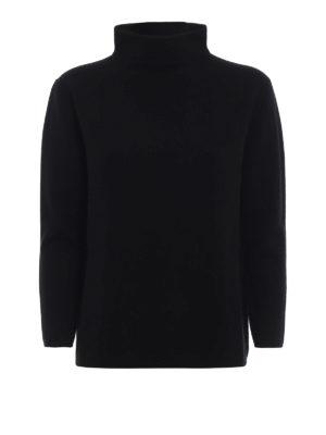 Max Mara: maglia a collo alto e polo - Pullover Legno nero con collo ad anello