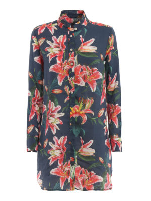 MC2 SAINT BARTH: cover-ups - Clemance flower print linen beach robe