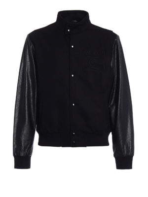 Mcq: bombers - Wool and hammered leather bomber