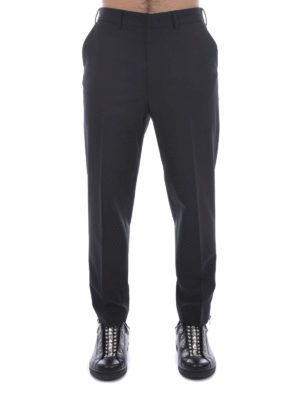 Mcq: casual trousers online - Zipped cuffs wool blend trousers
