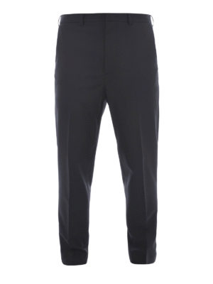 Mcq: casual trousers - Zipped cuffs wool blend trousers