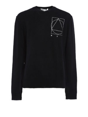 Mcq: crew necks - Embroidered logo wool sweater