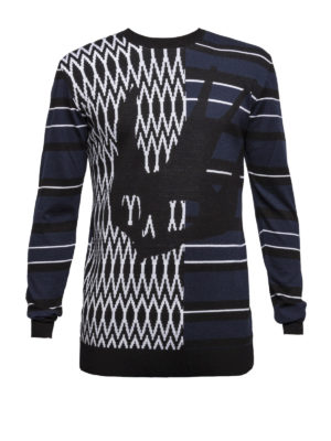 Mcq: crew necks - Swallow intarsia wool sweater