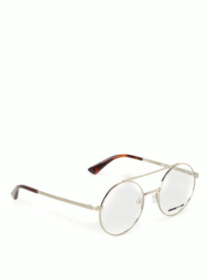 Mcq: glasses - Gold metal round eyeglasses